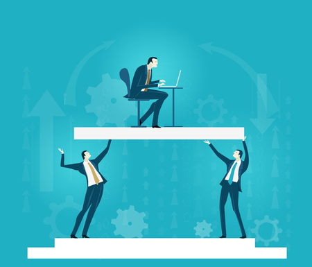 Business people holding up the platform with business man working on laptop Illustration