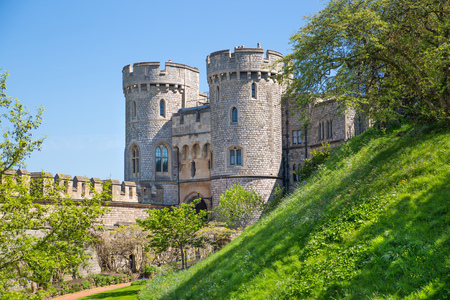 Windsor, UK - May 5, 2018: Windsor Castle  is official Residence of Her Majesty The Queen and  hostage of Prince Harry and Meghan Markle wedding on 19 May 2018.