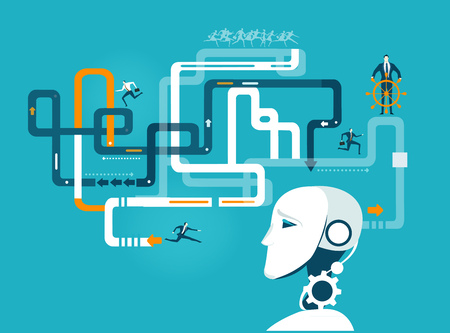 Robot developing and organising business way for humans.  イラスト・ベクター素材