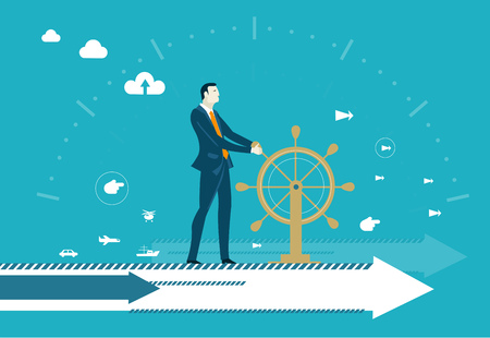 Businessman controlling business progress staying on the arrow and holding the ship wheel. Business leader.