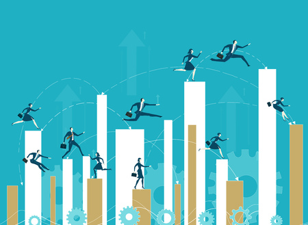 Business people running up to the growth charts. Professional competition and success in the career.