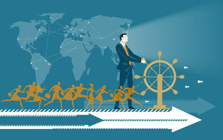 Successful businessmen staying on the moving arrow and holding the ship wheel. Business concept illustration