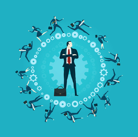 Business people, office workers running around the gear shape representing modern life concept, competitive environment and challenge in area.