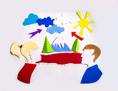 Young couple and nature, travel and going out idea. Paper design with space for text.