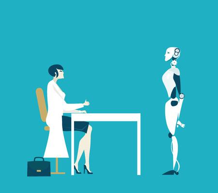 Mujeres científicas en bata blanca hablando con robot, su creación Ilustración de vector