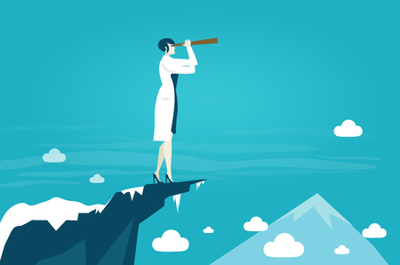 Woman Scientist looking with the telescope for future opportunity and discovery Ilustración de vector