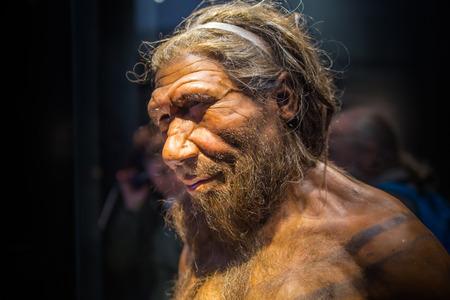 Londyn, Wielka Brytania - 11 marca 2018 r .: dorosły samiec Neandertalczyka Homo na podstawie szczątków liczących 40000 lat znalezionych w szpiegowskim w Belgii. Muzeum historii narodowej
