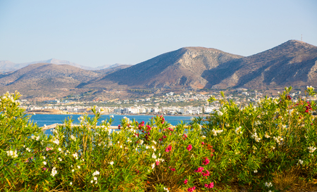 Crete, Greece. Hersonessos aria view on the town, mountains and sea Banco de Imagens - 105718206