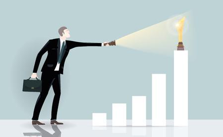 Erfolgreicher Geschäftsmann, der auf die goldene Trophäe zeigt, oben auf der Diagrammleiste. Geschäftskonzeptillustration Vektorgrafik
