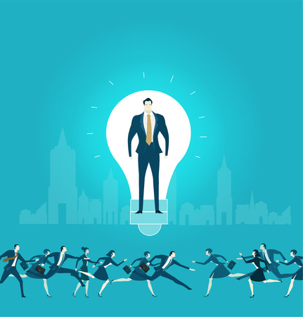 Businessmen in side of the light bulb, as symbol of idea, control, consultancy and  support. Business concept illustration