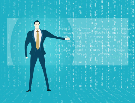 Businessmen, against of the screen with running numbers, represents the way to analyse big data and find solution.