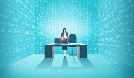 Consultor de datos en la oficina, rodeado de pantallas con datos en ejecución. Solución de big data, ayuda y soporte de análisis.