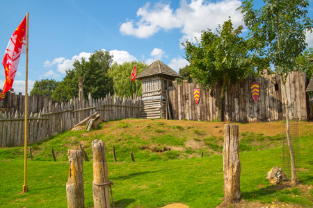 Essex, UK - 31 August, 2018: Norman village reconstruction, educational centre for kids with historical activities as knight fighting, catapult operation and every day life experience.