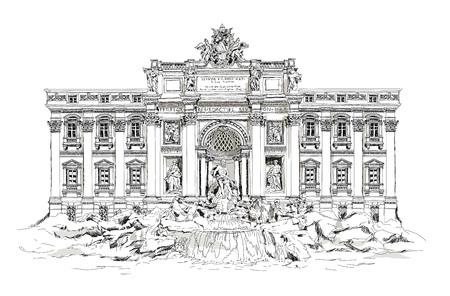 Rome, fountain Trevi. Roman classic architecture. Sketch Stockfoto