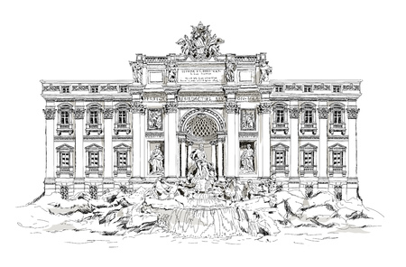 Rome, fountain Trevi. Roman classic architecture. Sketch 版權商用圖片