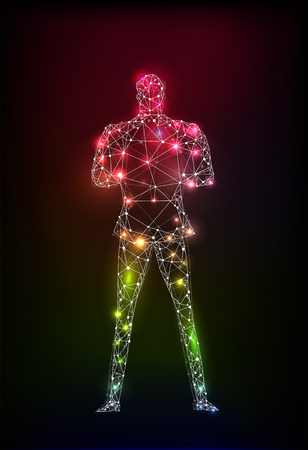 The man of the future. Future reality, artificial intelligence concept illustration. Neon man made of lights and abstract neon connections. Stock Photo