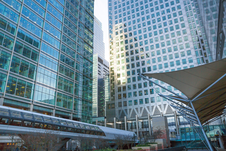 London, UK - 16 November, 2016: Corporate buildings of Canary Wharf, banks, insurances, media holdings. Editorial