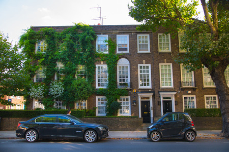London, UK - August 25, 2017: Residential aria of Kensington and Chelsea. Cadogan gate with row of periodic buildings. Luxury property in the centre of London. Editorial