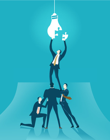 Businessman fixing the problem. Finding solution, support and advisory concept Ilustrace