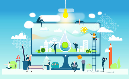 Business concept illustration. Business people working together panning healthy environment in future.