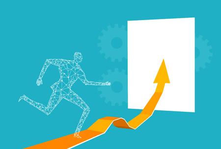 Businessmen walking on the arrow towards the golden Key of success.