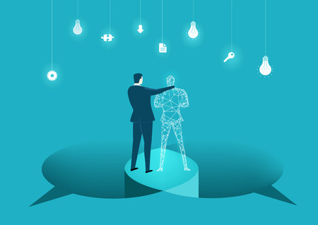 Businessmen working together with artificial intelligence