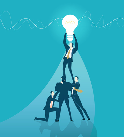 Team of business people fixing the light bulb. Idea, modification and support concept. Working together. Illustration
