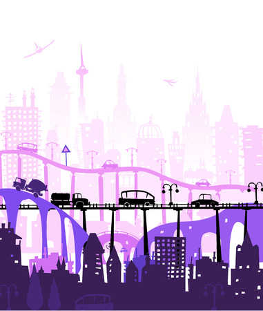 City and busy roads with traffic on the bridges, traffic junctions. City background