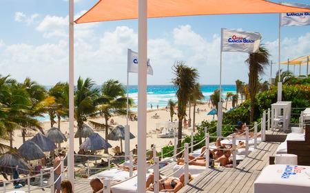 Mexico, Cancun - February 15, 2018: Ocean view and Cancun beach.  Grand Pyramid entertaining complex.