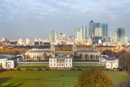 Greenwich and Canary  Wharf. London, UK Editorial