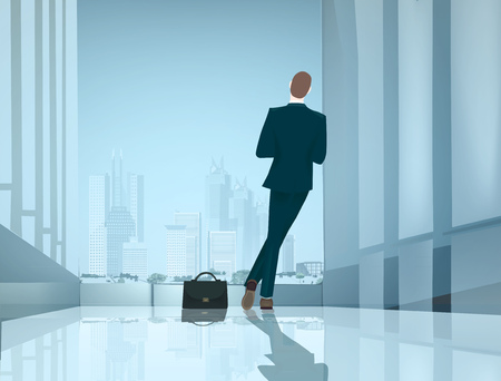 Businessman in the office leaned against the wall and looking over the city Illustration