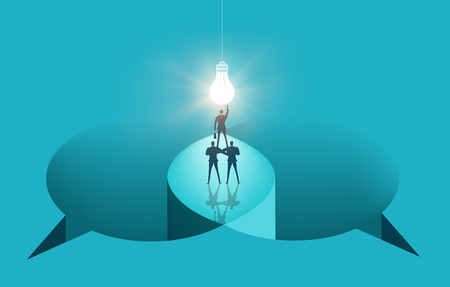 Two Business people talking on the edge of abstract speech bubble. Finding solution, working together, help and support concept business illustration.