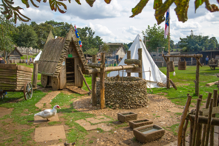 Essex, UK - 31 August, 2018: Norman village reconstruction, dated back to 1050. Educational centre for kids with demonstration of everyday life and skills