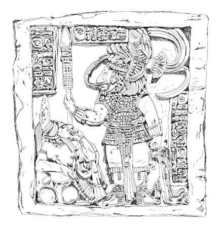 Old Maya relief with ancient king and priest. Sketch collection Stock Photo