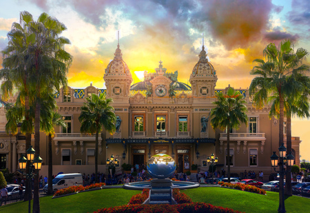 Monaco. The Grand casino Monte Carlo at sunset.