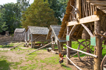 Essex, UK - 31 August, 2018: Norman village reconstruction, dated back to 1050. Educational centre for kids with demonstration of everyday life and skills medieval time