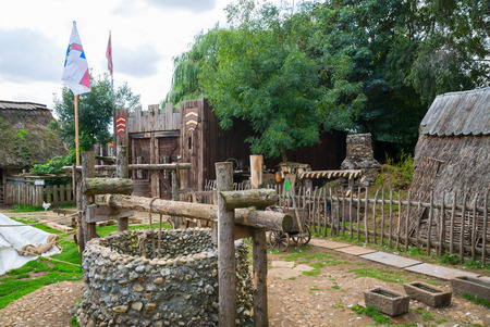 Essex, UK - 31 August, 2018: Gate in the Norman village reconstruction, dated back to 1050. Educational centre for kids with demonstration of everyday life and skills medieval time
