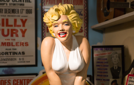 Essex, UK - 31 August, 2018: Marilyn Monroe vintage figure from the old public house. Stansted Toy Museum
