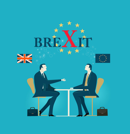 Two business people negotiating the Brexit Illustration