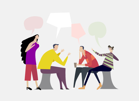 Colleagues discussing the new project in the office in friendly atmosphere. Working together for success.  Flat design human's characters in colourful clothes. Illustration