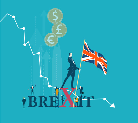 Businessmen with British flag staying against of the going down chart, representing falling down economy and finance stability. Future business development after the Brexit concept illustration.