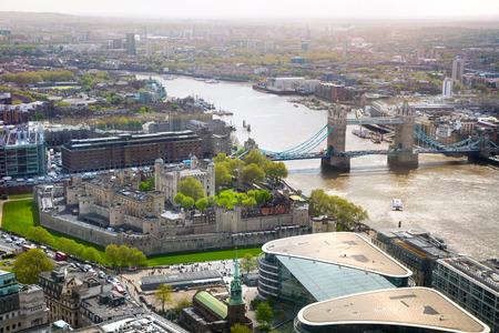 London, UK - 25 April, 2019: River thames, Tower of London and Tower bridge.