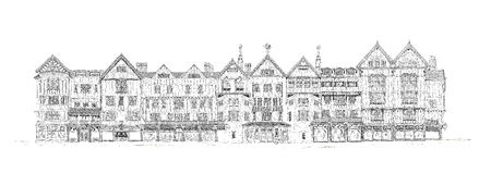 Detail drawing of the house, based on the old English architectural style.  Sketch collection.