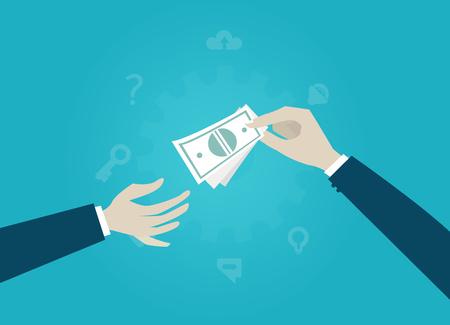 Businessman paying money to another businessman. Payment, achievement, profit and success concept Imagens