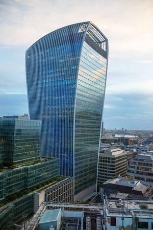 London, UK - 25 April, 2019: Walkie-Talkie building City of London. View from the roof office building
