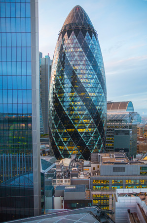London, UK - 25 April, 2019: Office building City of London. View from the roof office building