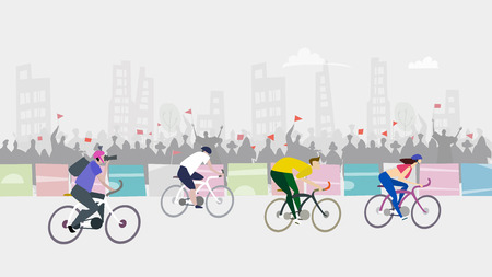 Sport race. Cycling in the City, sport event. Crowd cheering sportsmen. Illustration