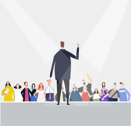 Businessman speaking informs of the audience. Meeting, promotion, advertisement concept. Everyday life concept Иллюстрация