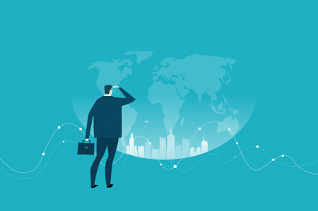 Successful businessman looking over the World, finding opportunities for new projects. Business concept illustration