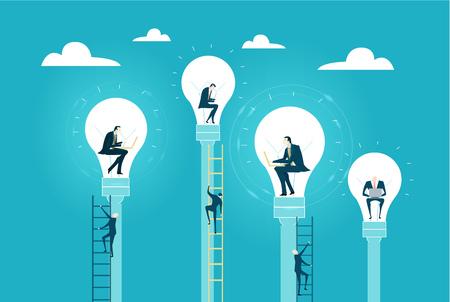 Gli uomini d'affari che lavorano all'interno delle lampadine come simbolo della generazione di grandi idee e di un nuovo avvio. Illustrazione del concetto di business